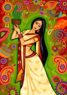 Illustration of design of Indian woman doing dhunuchi dance of Bengal during Durga Puja Dussehra celebration in India vector art, clipart and stock vectors. Cherokee Indian Art, Indian Folk Art, Native Indian, Native Art, Indian Women Painting, Indian Art Paintings, Modern Art Paintings, Abstract Paintings, Madhubani Art