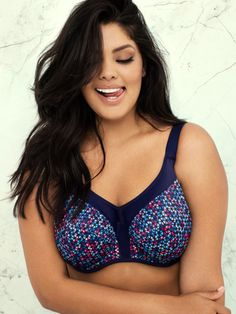 c4cb1f25b Energise Navy Geo Underwired Sports Bra - Elomi EL8042NAO  poinsettiastyle  Energise innovative cup design strays