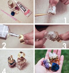 Gold Gilded Geode Ring - Rings Projects - Beads.How