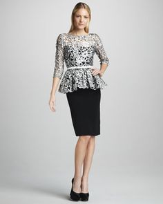 Lace & Peplum by Marchesa Couture- need I say more? Plus color blocking and the Black & White Trend! Would Pair this ensemble with a classic  Oxblood red Pump! Get Styled by www.ChristinaStyles.com