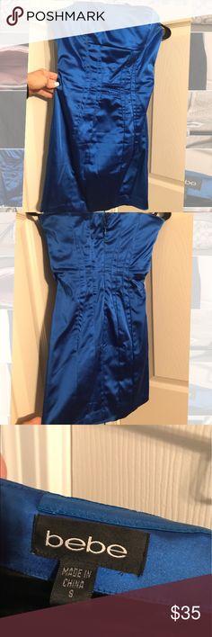 bebe Blue fitted Dress Bebe blue fitted dress size S. never worn. bebe Dresses