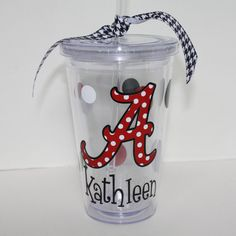 Personalized Acrylic Tumbler with straw - College gift, Graduation,Alabama, Roll Tide. $15.00, via Etsy.