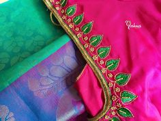 The Super Extravagant Telugu Wedding Replete With Glitz & Glamour Simple Blouse Designs, Saree Blouse Neck Designs, Wedding Saree Blouse Designs, Patch Work Blouse Designs, Mirror Work Blouse Design, Embroidery Neck Designs, Hand Embroidery, Maggam Work Designs, Designer Blouse Patterns