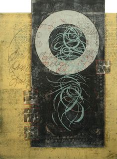 """Overlooking the Past, by Anne Moore, monotype with collage, 22""""X 16"""""""
