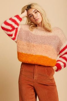 *FINAL SALE* Amazing handmade pullover straight from Germany! Features a wide neckline and statement sleeves. This piece will be with you for years and years to come! Knit Fashion, Sweater Fashion, Fashion Outfits, Big Sweater Outfit, Cozy Sweaters, Sweaters For Women, Striped Sweaters, Oversized Sweaters, Winter Sweaters