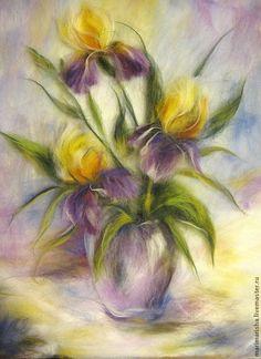 Купить Картина из шерсти Ирисы - сиреневый, картина из шерсти, живопись шерстью, Живопись, шерсть