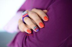 Orange and violet mani