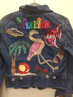Levi's Vintage Denim Jacket with florida themed by makelovewear