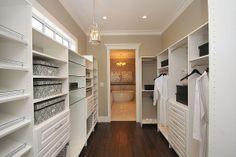 custom built in colsets | custom built walk in closet with glass shelves, shoe shelves and ...