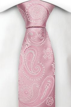 Slim tie - Paisley in pink & white on light pink