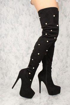 e4dbaf099ac1 Sexy Black Pearl Platform High Heels Thigh High Boots Faux Suede   Stilettoheels. Open