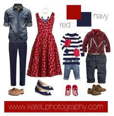 Red + Navy family outfit inspiration: what to wear for a family photo session in the spring or summer. Created by Kate Lemmon, www.kateLphotography.com