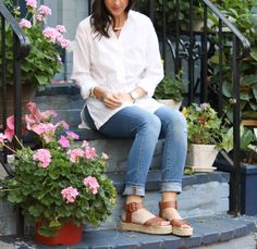 Laid back summer style with a white button up, distressed denim & platform sandals.