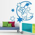 Vinilos decorativos de Patito durmiendo en la luna, junto a las estrellas, para decoración de habitaciones infantiles