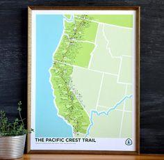Brainstorm Prints Pacific Crest Trail 4 Color Screenprint Poster