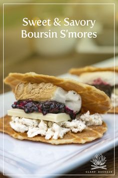 This recipe for sweet & savory s'mores is an elevated take on a campfire classic. Distinctive and balanced, this recipe features tart blackberry compote, marshmallow and flaky French butter cookies, plus bold and flavorful Boursin Cracked Black Pepper. You'll be coming back for more for your next outdoor gathering. See the full recipe at boursin.com. #glampboursin Campfire Desserts, Boursin Cheese, Waffle Cookies, Cheese Stuffed Peppers, Apples And Cheese, Roasting Marshmallows, Homemade Cheese, Food Names, Best Dishes
