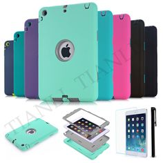 Premium Hybrid Rubber Shockproof Case Cover For iPad mini 1/2/3 For Air 1st Gen #TIANLI