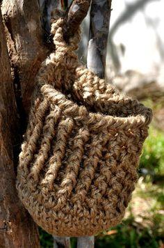 Crochet Jute Hanging Basket