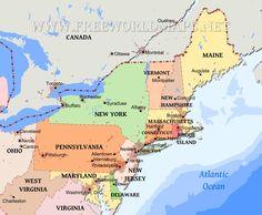 Northeast Map Northeastern United States Map States Of The Northeastern United