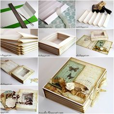 How to DIY Vintage Scrapbook Gift Box tutorial and instruction. Follow us: www.facebook.com/fabartdiy