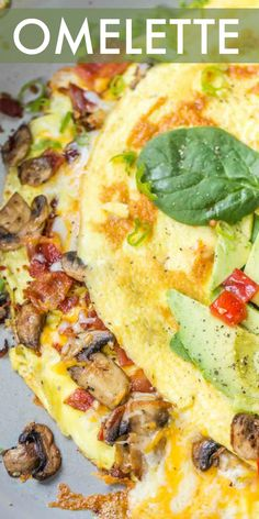 Homemade Bacon Mushroom Omelet with Cheese, breakfast ready in just 15 minutes. Fluffy scrambled eggs filled with bacon and sauteed mushrooms and cheese. Entree Recipes, Egg Recipes, Brunch Recipes, Breakfast Recipes, Cooking Recipes, Breakfast Ideas, Bacon Stuffed Mushrooms, Bacon Mushroom, Sauteed Mushrooms