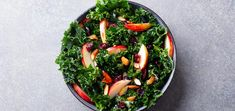 Boost your nutrient intake by enjoying this raw vegan kale salad that's perfectly balanced with apples, cranberries, and a tart vinaigrette. Kale Salad, Top View, Apples, Stock Photos, Grey, Ethnic Recipes, Image, Food, Products