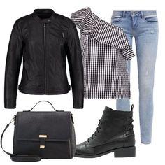Total look ideale per tutti i giorni composto da camicetta a scacchi, jeans skinny fit e giacca in finta pelle. Completano il look borsa a mano con chiusura magnetica e stivaletti con i lacci.