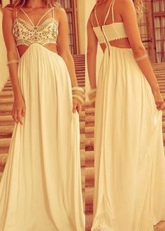 White Spaghetti Strap Bohemian Maxi Dress