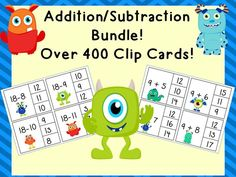 Addition/Subtraction Clip Cards Bundle! Facts to 20! Over 400 cards included!