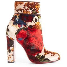 Women's Christian Louboutin Moulamax Floral Velvet Bootie ($1,095) ❤ liked on Polyvore featuring shoes, boots, ankle booties, velvet boots, short boots, red ankle booties, ankle bootie boots and red booties