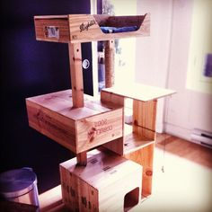 wine crate cat tree