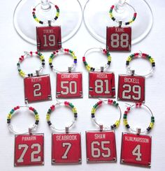 Chicago Blackhawks Wine Charm Set of 10 by TaylenandKatie on Etsy