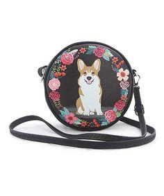 Take a look at this Sleepyville Critters Black Floral Corgi Circular Crossbody Bag today!