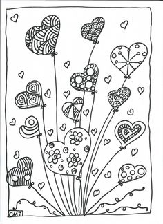 Hearts coloring pages Colouring Pages, Adult Coloring Pages, Coloring Books, Kids Colouring, Doodle Drawings, Doodle Art, Art For Kids, Crafts For Kids, Zentangle Patterns