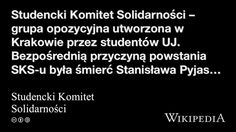 """Studencki Komitet Solidarności"" på @Wikipedia: Workers Union"