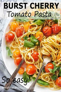 Easy Burst Cherry Tomato Pasta is the perfect week night dinner! This recipe uses simple ingredients and is quick to prepare. You can't beat a pasta that uses bursting tomatoes to create a simple sauce which tastes delicious! #easyrecipes #pastarecipes #cheapdinnermeals @sweetcaramelsunday Cherry Tomato Pasta, Roasted Cherry Tomatoes, Spaghetti Recipes, Pasta Recipes, Easy Dinner Recipes, Easy Meals, Sunday Recipes, Vegetarian Recipes, Healthy Recipes