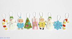 2 Vintage style Christmas Ornaments , TWO Felt Ornaments,Winter Fun, Christmas Tree, Snowman, Kids, Snowflake, candy canes. $14.00, via Etsy.