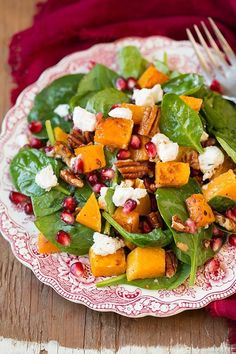 Butternut Squash, Pomegranate and Goat Cheese Spinach Salad with Red Wine Vinaigrette   Cooking Classy