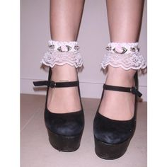 Babydoll Ankle Cuffs ($25) ❤ liked on Polyvore featuring pictures, shoes, photos, pink, backgrounds, filler, pink shoes, spike shoes, flower shoes and ankle cuff shoes