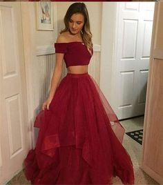 Two Pieces Red Prom Dress,Tulle Off Shoulder Evening Dresses Prom Gowns Tulle Pr. Two Pieces Red Prom Dress,Tulle Off Shoulder Evening Dresses Prom Gowns Tulle Prom Dresses Cheap,Long Party Gowns - Prom Dresses Two Piece, A Line Prom Dresses, Tulle Prom Dress, Sexy Dresses, Prom Gowns, Elegant Dresses, Wedding Dresses, Graduation Dresses Long, Prom Dresses For Teens