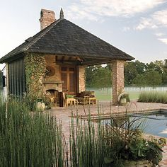 Brick pool house