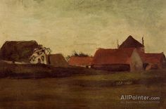 Vincent Van Gogh Farmhouses In Loosduinen Near The Hague, In Twilight oil painting reproductions for sale