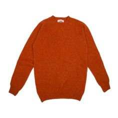 Brushed Shetland Wool Rust Jumper (7.225 RUB) ❤ liked on Polyvore featuring tops, sweaters, shetland wool sweater, jumpers sweaters, orange sweater, layered tops and bunny sweater