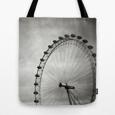 London Eye Tote Bag by Anja Hebrank - $22.00   #london #londoneye #uk #england #clouds #old #vintage #streetphotography #canon #present #decoration #kitchen #interior #bnw #blackwhite #travelling #travelphotography #design #individual #society6 #print #art #artprint #interior #decoration #design #fashion #clothes #clothing #bag #tasche #beutel #tote #totebag #jutebeutel #hipster
