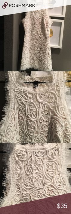 Super chic lace dress! Brand new beautiful off white dress! Amazing details! It's. Size large but it runs smaller , I will say more a medium! Dresses Mini