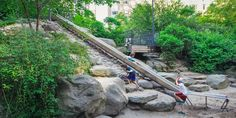 Teardrop Park has a rockin' slide. Plus it's a beautiful park.