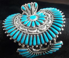 Navajo Silver and Turquoise Watch Cuff Pettipoint, F.M Begay