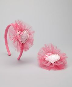 Take a look at this Hot Pink Pearl Heart Headband & Clip by Just Fab Girls on #zulily today!