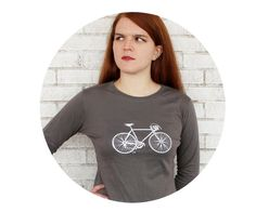 Long Sleeved Speed Bike Ladies Cotton Crewneck by CausticThreads