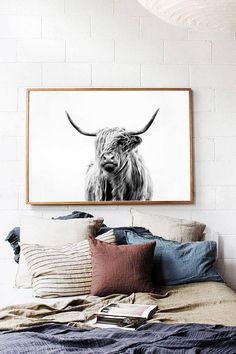 Highland Cow Printable Cow Print Scandi Home Decor Nordic